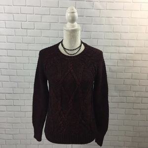 Marled Black & Red Cable Knit Fisherman's Sweater